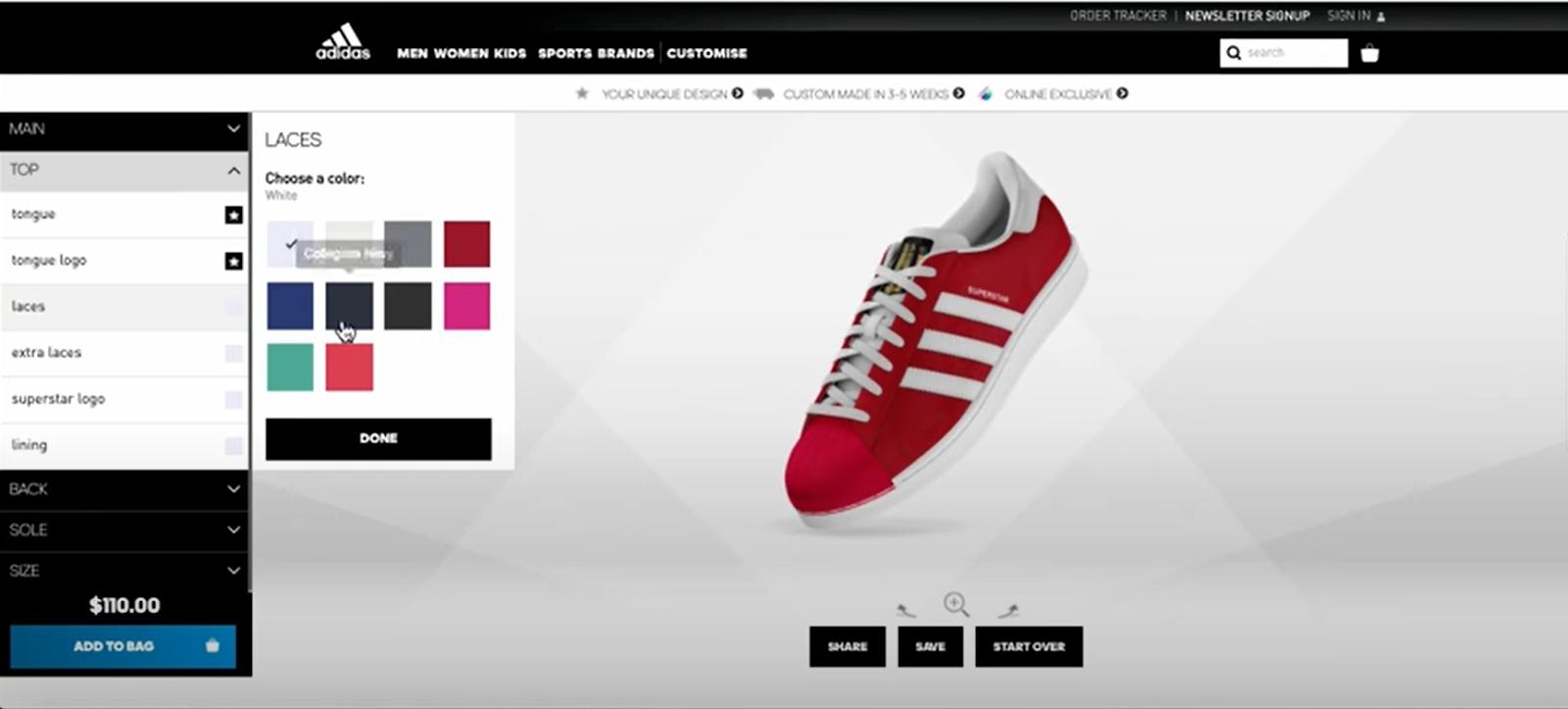 Commerce cloud Einstein to boosts brand value - Adidas shoe